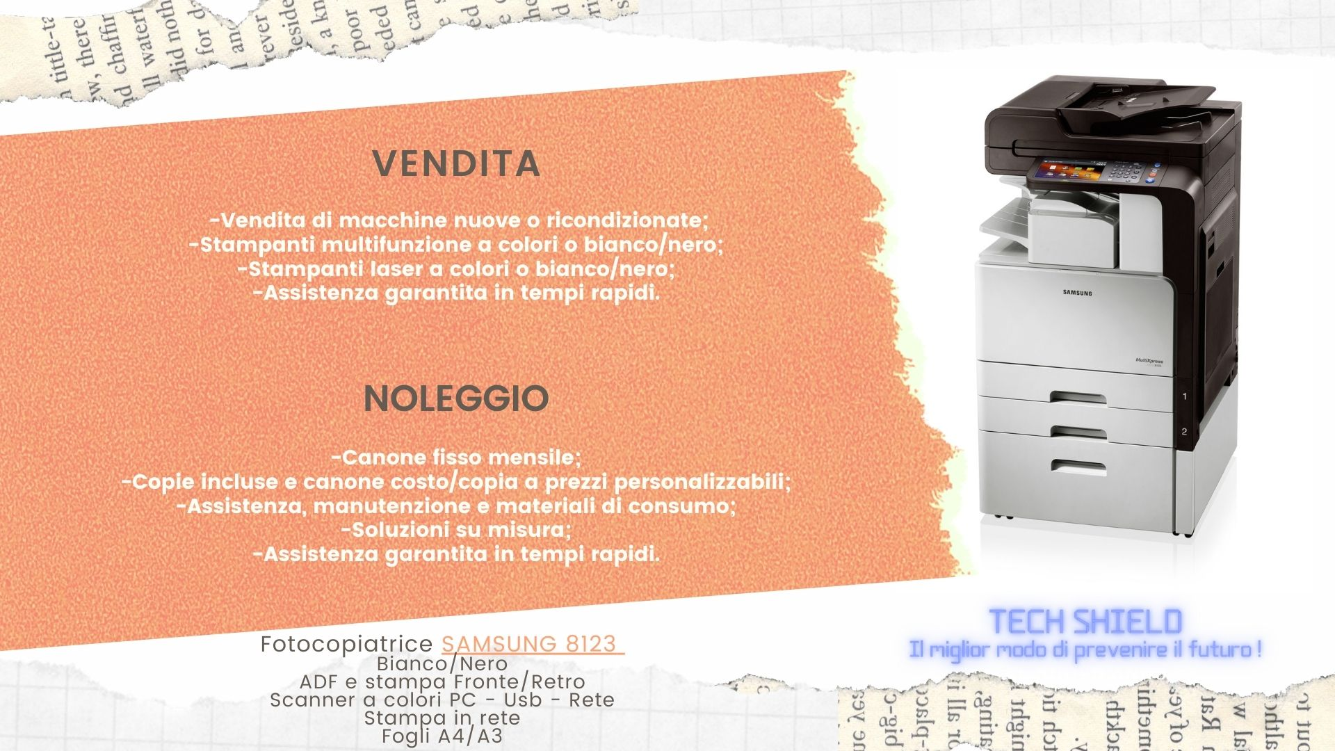 VENDITA E NOLEGGIO MACCHINE DA UFFICIO - Tech Shield